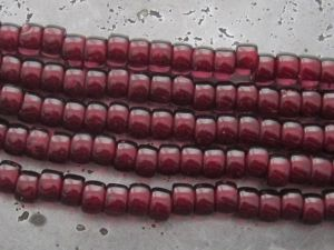 Czech glass roller 6mm wine red (30pcs)