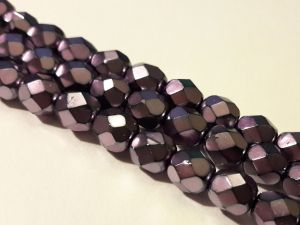 Czech faceted glass bead metal redish lilac 6mm