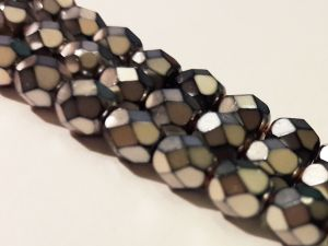 Czech faceted glass bead metal dark silver 6mm