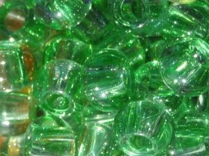 Glass bead rondelle big hole light green