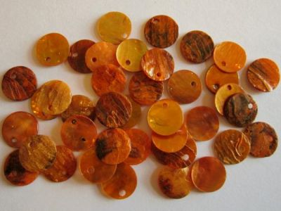 Shell sequin 10mm orange