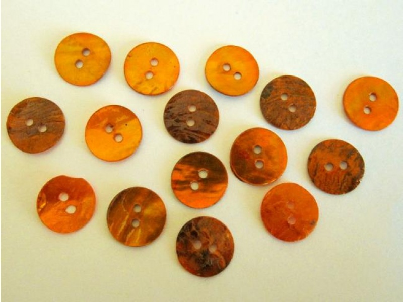 Mother of pearl button 13mm orange