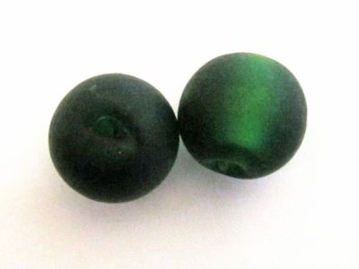 Frosted foil bead 14mm dark green FH0136