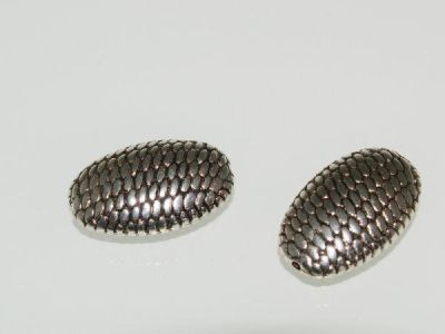 Copper coated bead flat oval rope pattern  CCB5097