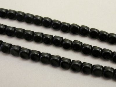 Glass bead small round curvy black