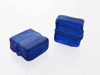 Silver foil bead blue 12x12 mm (4pcs)