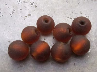 Frosted foil bead 10mm dark amber