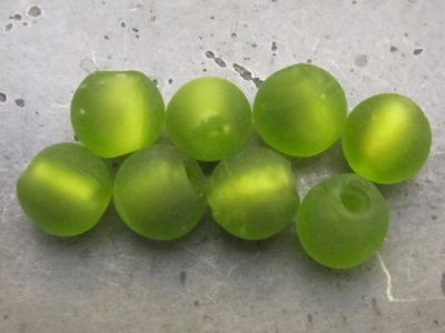 Frosted foil bead 10mm lime