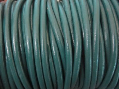 Leather cord 4mm round petrol
