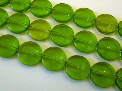 Glass bead coin green