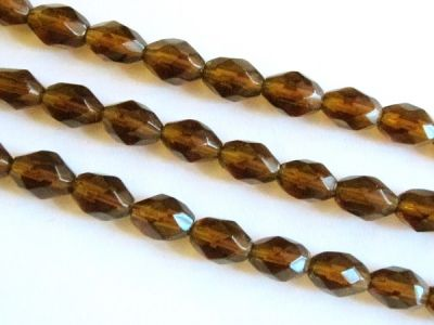 Glass bead grain faseted brown