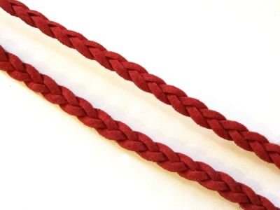Suede imitation ribbon plaited Red