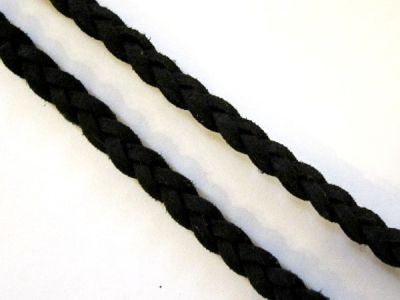 Suede imitation ribbon plaited black