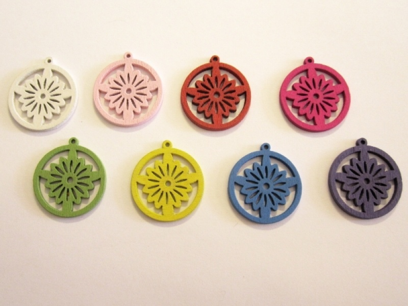 Wooden pendant flower coin colour assortment (5x2pcs)
