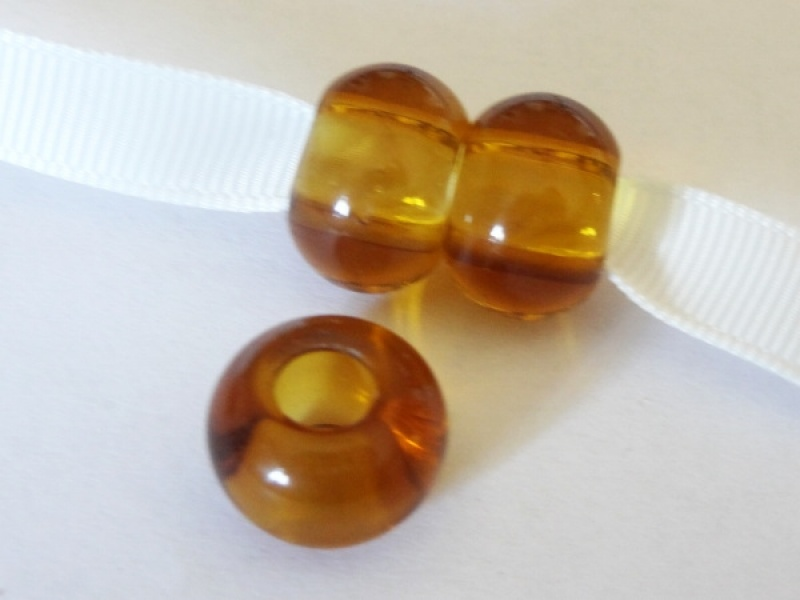 Glass bead rondelle big hole amber