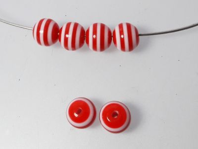 Resin bead red and white 10mm (20pcs)
