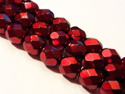 Czech faceted glass bead metal red 6mm