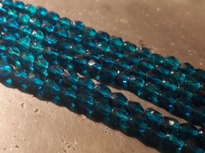 Czech faceted glass bead 4mm petroleum (96 pcs)
