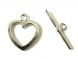 Toggle clasp flat  heart, platinum