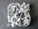 Divider matte silver  rectangle flower with rhinestones